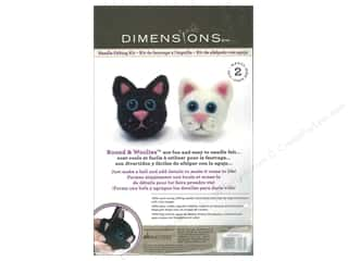 Felt Projects & Kits: Dimensions Needle Felting Kit Round & Woolies Cats
