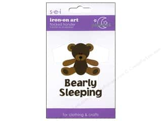 Irons: SEI Iron On Art Bearly Sleeping 3 x 4 in. Brown