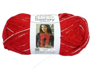 Hearts Hot: Red Heart Boutique Sashay Yarn 3.5 oz. Sparkle Red Hot