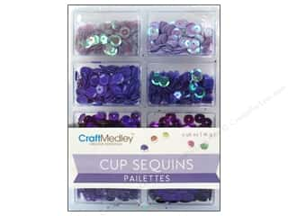 Multi's Embellishment  Yarn New: Craft Medley Cup Sequins 7 mm Viola