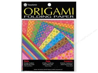 "Papers $5 - $10: Yasutomo Fold Ems Origami Paper 5.88"" Dots 20pc"