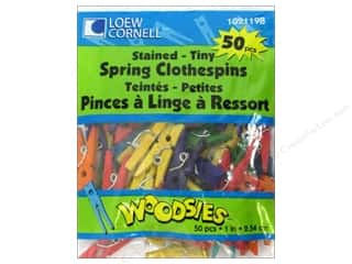 Loew Cornell Green: Woodsies Tiny Spring Clothespins 50 pc. Colored