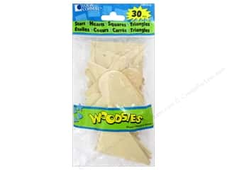 Forster: Woodsies Wood Shapes Jumbo Stars/Hearts/Squares/Triangles 30 pc.