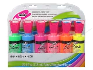 Back To School Fabric Painting & Dying: Tulip Dimensional Fabric Paint Slick 4oz Neon 6pc