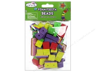 Multicraft Foam Beads 8mm Square Astd Fiesta 88pc