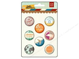 Buttons Vacations: BasicGrey Metal Flair Stickers Carte Postale