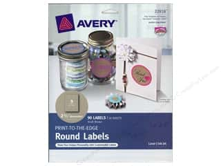 Labels: Avery Print-To-The Edge Round Labels 2 1/2 in. Kraft Brown 90 pc.