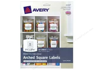 Labels: Avery Print-To-The Edge Arched Square Labels 2 1/2 in. White 60 pc.