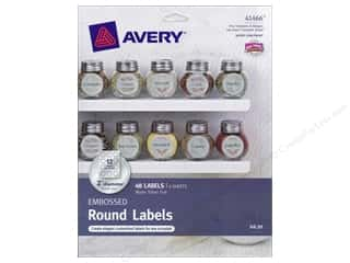 Labels: Avery Round Labels 2 in. Embossed Matte Silver Foil 48 pc.