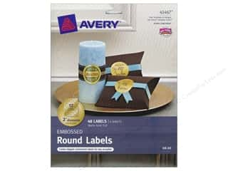 Avery Round Labels 2 in. Embossed Matte Gold Foil 48 pc.