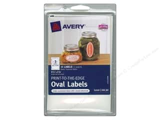 Labels Office: Avery Print-To-The Edge Oval Labels 3 3/4 in. Textured Matte White 15 pc.