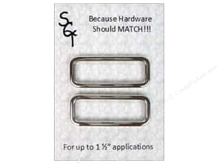 "Purse Making Hardware: Sisters Common Thread Hardware Slide 1.5"" Nickel 2pc"