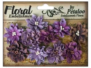 Bazzill Embellishment Flowers / Blossoms / Leaves: Petaloo Darjeeling Dahlias Teastain Purples