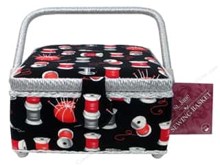 St Jane Sewing Baskets Small Square Black/Red