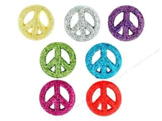 Jesse James Buttons Bulk & Cover Buttons: Jesse James Dress It Up Embellishments Glitter Peace Signs