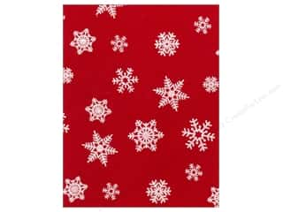 Winter Sewing & Quilting: Kunin Felt 9 x 12 in. White Snowflake Red (24 pieces)