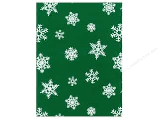 Felt Felt Sheets / Felt Squares: Kunin Felt 9 x 12 in. White Snowflake Pirate Green (24 pieces)