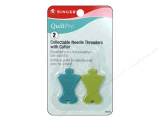 Needle Threaders Green: Singer Notions QuiltPro Needle Threader with Cutter 2pc