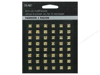 Plaid Iron On Hot Fix Nailhead Pyramid Shiny Gold