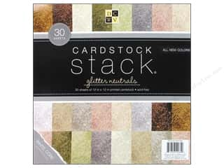 Die Cuts 12 x 12 in. Cardstock Stack Glitter Neutrals