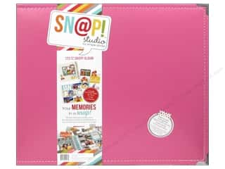 Photo Corners Think Pink: Simple Stories SN@P! Leather Album 12 x 12 in. Pink