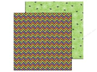 Doodlebug inches: Doodlebug Paper 12 x 12 in. Halloween Parade Shocking Chevron (25 pieces)