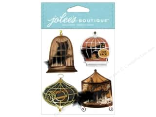 stickers  -3D -cardstock -fabric: Jolee's Boutique Stickers Birds In Cages