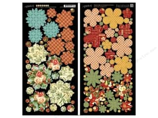 Sale Christmas: Graphic 45 Cardstock Shapes 12 Days Christmas Flowers