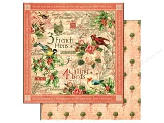 Clearance Burgundy: Graphic 45 Paper 12x12 12 Days of Christmas Calling Birds (25 pieces)