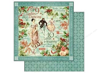 Clearance Burgundy: Graphic 45 Paper 12x12 12 Days of Christmas Ladies Dancing (25 pieces)