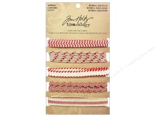 Zig Ribbons: Tim Holtz Idea-ology Trimmings Natural/Red/Cream