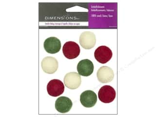 Dimensions 100% Wool Felt Embl 2cm Holiday Balls