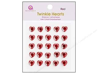 Valentine's Day Rhinestones: Queen&Co Sticker Twinkle Hearts Red