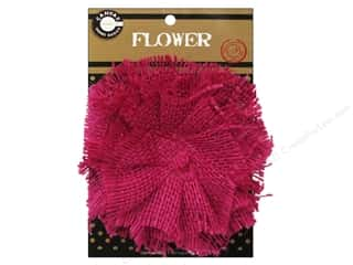"Canvas Corp Embel Flower Burlap 4"" Hot Pink"