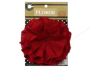 "Canvas Corp Embel Flower Burlap 4"" Red"