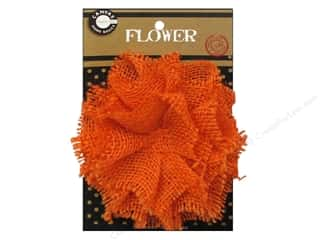 Hair: Canvas Corp Burlap Flower 4 in. Orange