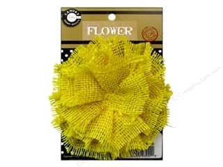 Hair Hair Adornments: Canvas Corp Burlap Flower 4 in. Yellow