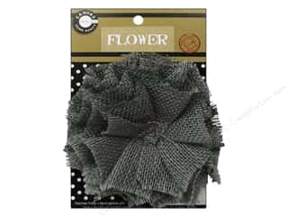 "Canvas Corp Embel Flower Burlap 4"" Grey"