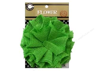 Canvas Home Basics Embellishment Flowers / Blossoms / Leaves: Canvas Corp Burlap Flower 4 in. Lime Green