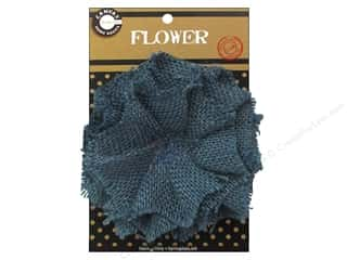 "Canvas Corp Embel Flower Burlap 4"" Denim"