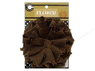 Black: Canvas Corp Burlap Flower 4 in. Chocolate
