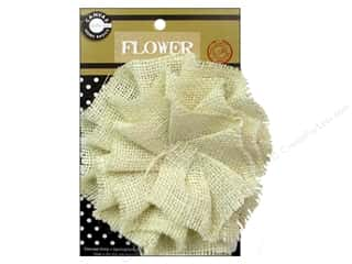 "Canvas Corp Embel Flower Burlap 4"" Ivory"