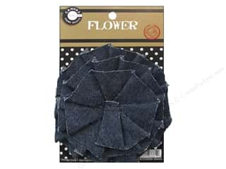"Canvas Corp Embel Flower Canvas 4"" Denim"
