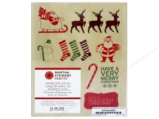 Martha Stewart Stamp Wood Set Peppermint Winter