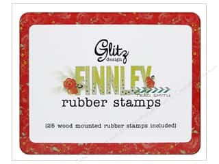 Glitz Design Rubber Stamp Set Finnley Wood Tin