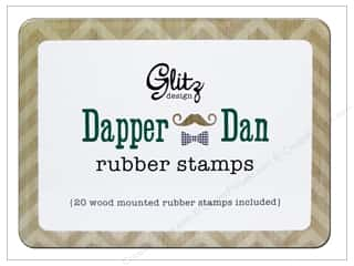 Glitz Design Rubber Stamp Set Dapper Dan Wood Tin