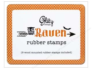 Glitz Design Rubber Stamp Set Raven Wood Tin