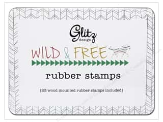 Glitz Design Rubber Stamp Set Wild & Free Wood Tin