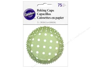Baking Supplies New: Wilton Baking Cup Standard Dots Green 75pc