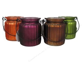 "Jars Glass: Sierra Pacific Decor Glass Candleholder 3""x 3.5"" Corrugated Wire Handle Assorted (12 sets)"